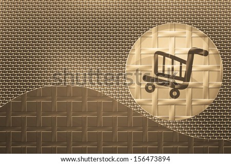 Shopping cart button metal bronze background design. - stock photo