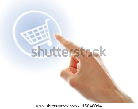shopping cart button presses by a male hand on white background