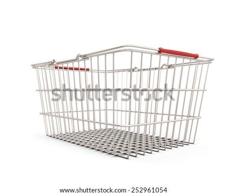 Shopping cart clipping path on a white. 3d illustration. - stock photo