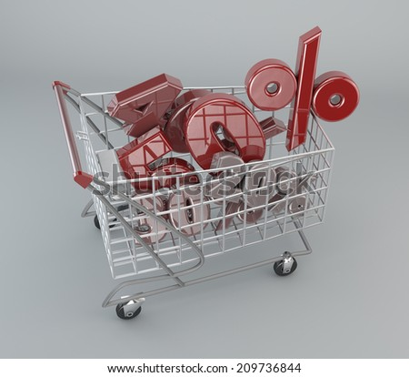 Shopping Cart, discounts, sales, supermarket, promotions  - stock photo