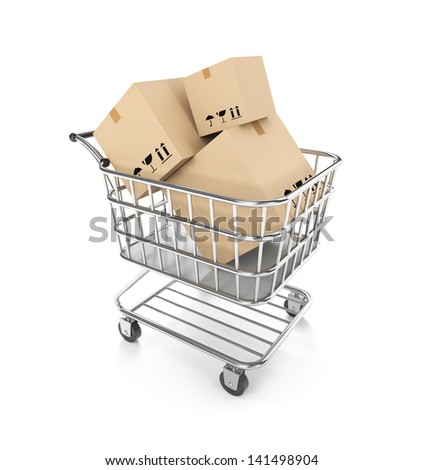 Shopping cart filled boxes - stock photo