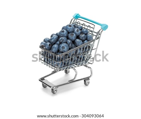 Shopping cart filled with blueberries on pure white background. Healthy shopping and eating concept. - stock photo