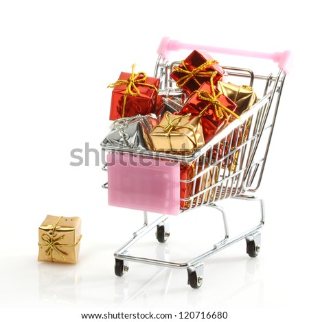 shopping cart filled with gifts over white