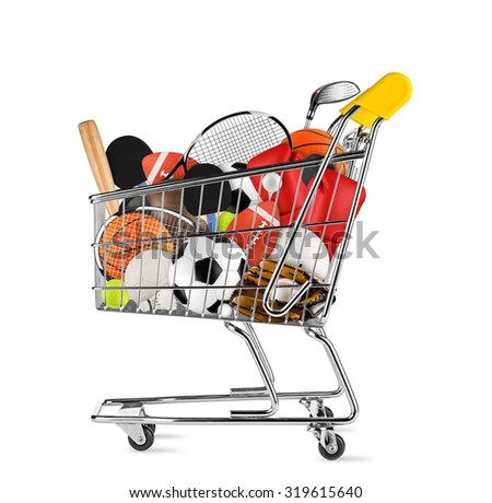 shopping cart filled with sports equipment isolated on white background - stock photo