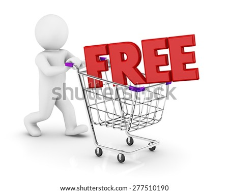Shopping Cart (FREE). Concept of discount - stock photo