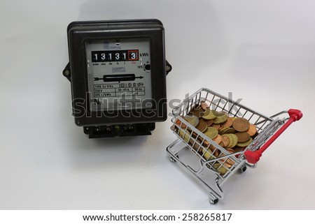 shopping cart full of European money and the old electricity meter