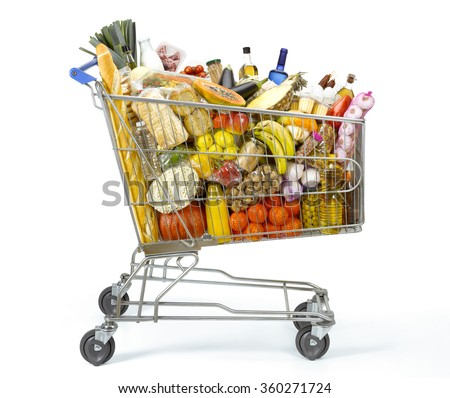 Shopping cart full of food - stock photo