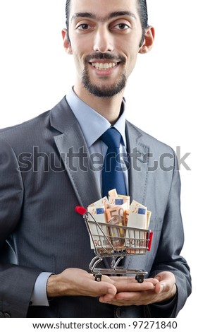 Shopping cart full of money