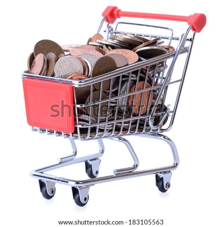 Shopping cart full of money isolated on a white background