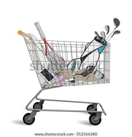 Shopping cart full of purchases and tenders