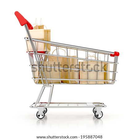 Shopping cart full of shopping bags and sale labels. Discount concept. 3d illustration isolated on white - stock photo