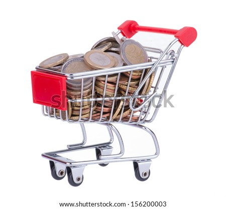 Shopping Cart Full With Euro Coins Isolated On White
