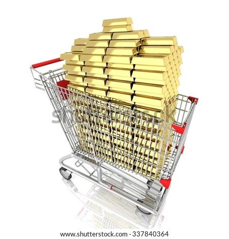 shopping cart full with many Gold bars   isolated on white background - stock photo