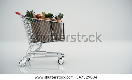 Shopping cart full with products  - stock photo