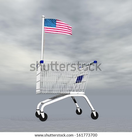 Shopping cart holding american flag to symbolize commerce in United States into grey cloudy background - stock photo