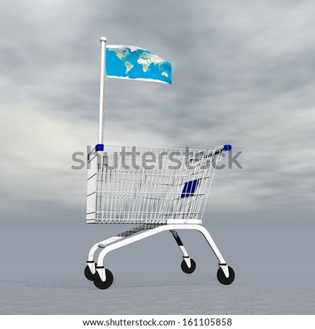 Shopping cart holding earth map flag to symbolize international commerce in grey cloudy background - stock photo