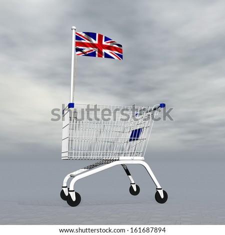 Shopping cart holding emglish flag to symbolize commerce in United Kingdom into grey cloudy background - stock photo