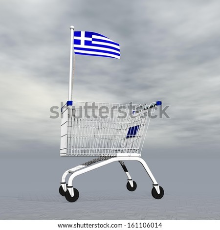 Shopping cart holding Greek flag to symbolize commerce in Greece into grey cloudy background - stock photo