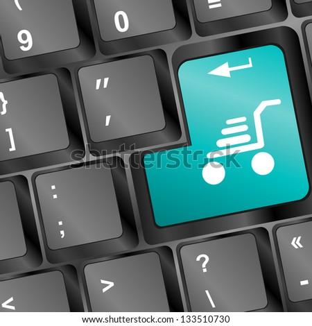 Shopping cart icon on keyboard key, raster - stock photo