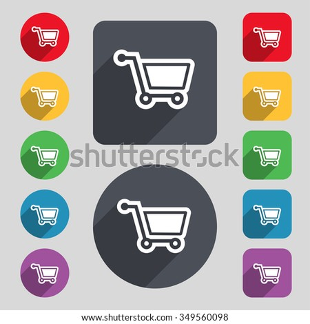 shopping cart icon sign. A set of 12 colored buttons and a long shadow. Flat design. illustration - stock photo