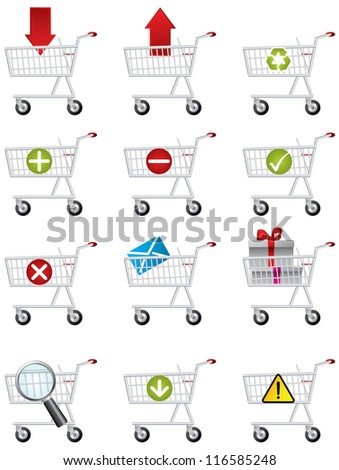 Shopping cart icons - stock photo