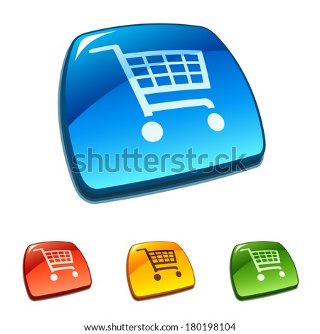 Shopping cart icons buttons. Raster version of EPS image 37695442