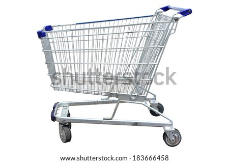 Shopping cart in marketing shop isolated on white background. This has clipping path.  - stock photo