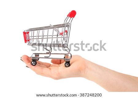 Shopping cart in the hand on white background