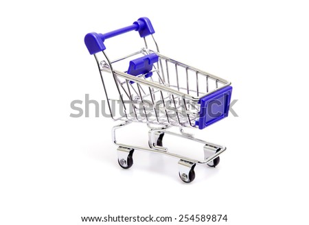 shopping cart isolated on white background - stock photo