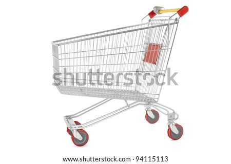 Shopping cart isolated on white, outline clipping path included