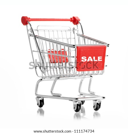 shopping cart isolated on white. Sale concept.