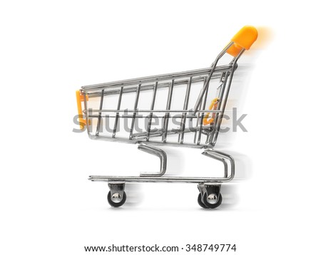 shopping cart moving on white background