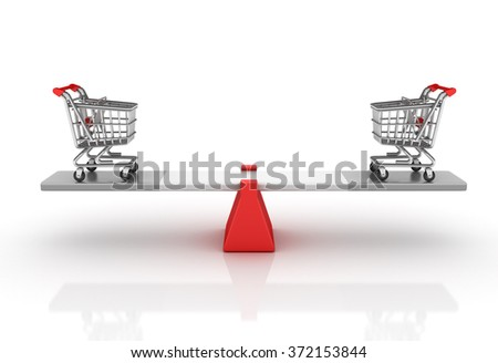 Shopping Cart on a Seesaw - Balance Concept - High Quality 3D Render   - stock photo
