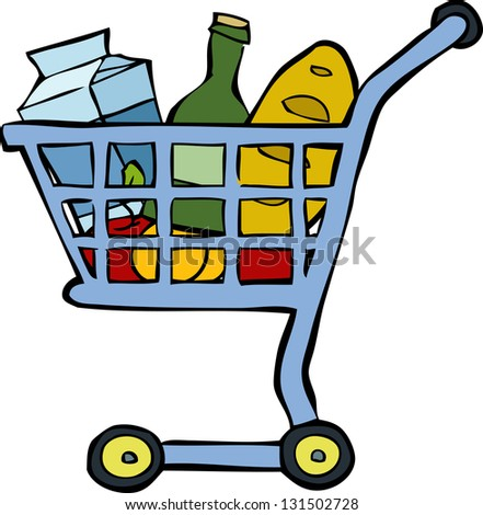 Shopping cart on a white background raster version - stock photo