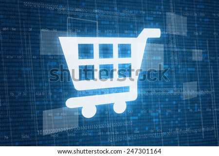 Shopping cart on digital background, online shopping consept  - stock photo