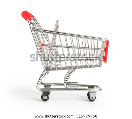 Shopping cart on isolated white background, close up view - stock photo
