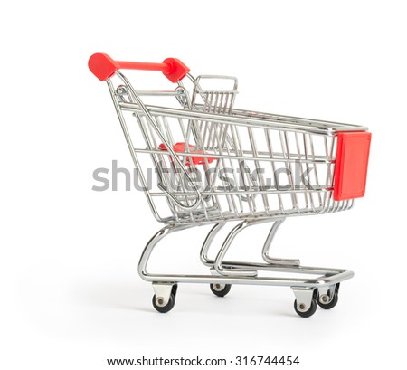 Shopping cart on isolated white background, close up view view