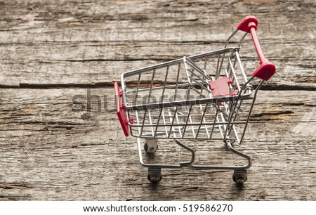 shopping cart on the wooden floor
