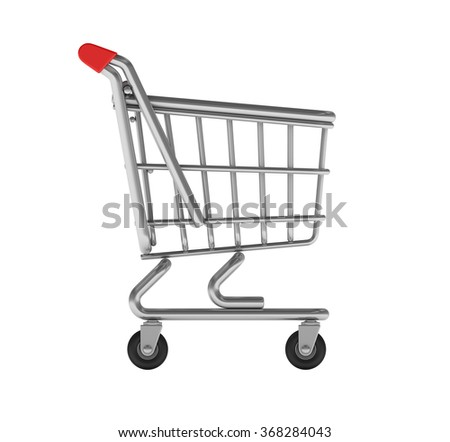 Shopping Cart on White Background - High Quality 3D Render