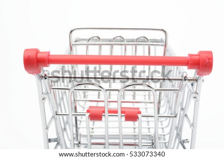 Shopping cart on white background, rear view