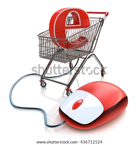 Shopping cart operated computer mouse and symbol of e-commerce in the design of the information related to the Internet. 3d illustration - stock photo