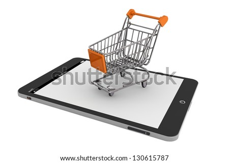 Shopping Cart over a Tablet PC on a white background