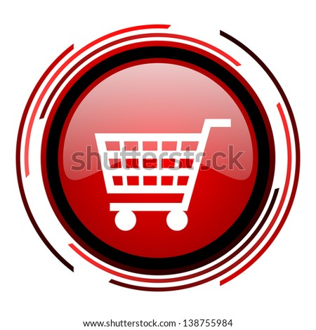 shopping cart red circle web glossy icon on white background  - stock photo