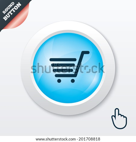 Shopping Cart sign icon. Online buying button. Blue shiny button. Modern UI website button with hand cursor pointer.