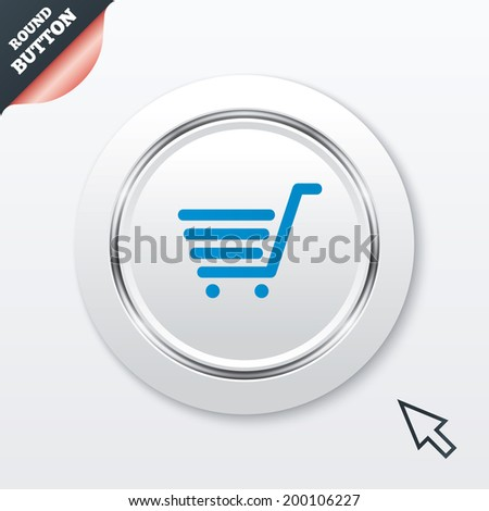 Shopping Cart sign icon. Online buying button. White button with metallic line. Modern UI website button with mouse cursor pointer.