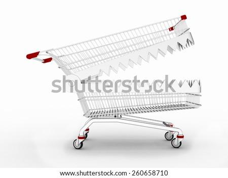 Shopping cart trap, isolated on white background - stock photo