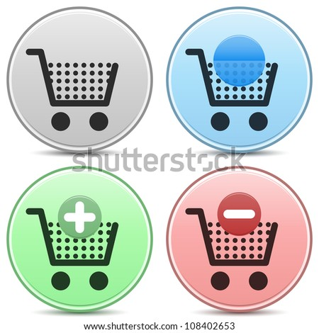 "Shopping cart trolley icon matte button set. Includes ""empty cart"", ""filled cart"" with copy space for item count and valuation, ""add to cart"" and ""remove from cart"" icons."