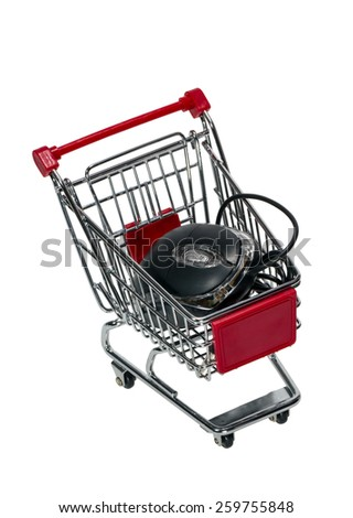 Shopping cart with a computer mouse isolated on white background - stock photo