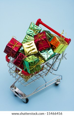 Shopping Cart with a lot bright colorful presents