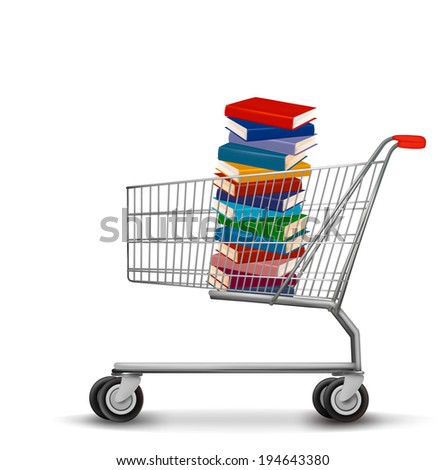 Shopping cart with a stack of books. Raster version - stock photo